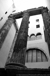 Barcelona Roman Stone Pillars Black & White Photo.jpg
