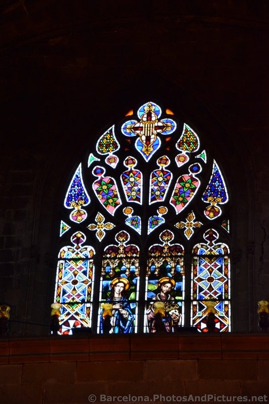 Stained Color Glass Window of Barcelona Cathedral.jpg