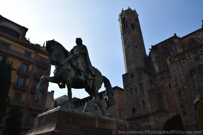 Ramon Berenguer III Statue with Old Barcelona City Wall in Background.jpg