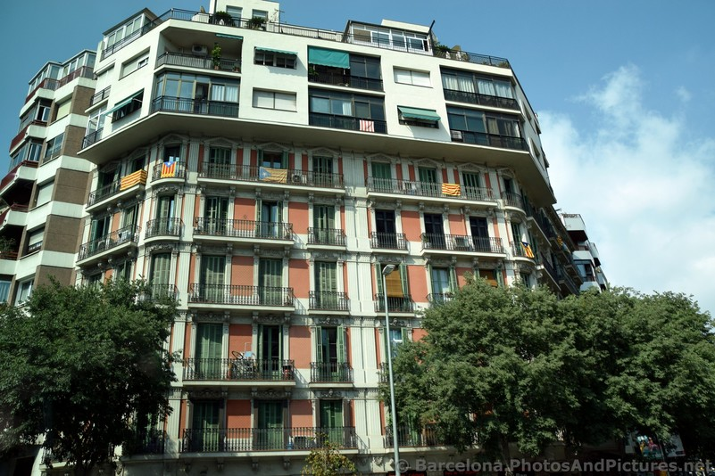 Catalonia Flags Hanging on Balconies of Barcelona Apartment Buildings.jpg