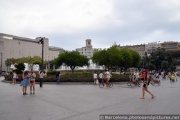Spanish Locals Walk and Bike in front of Fountain @ Catalunya Square.jpg